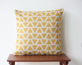 "22"" x 22"" Decorative Pillow Cover Geometric Pattern Yellow Triangles Cushion Cover Throw Cushion Cover 163"