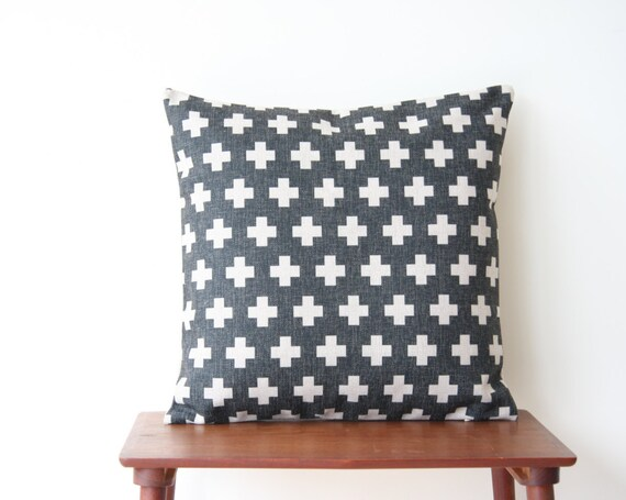 22 x 22 Decorative Pillow Cover Charcoal Minimalist by BeadandReel