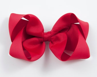 Red Hair Bow, Red Twisted Boutique Bow, Red Boutique Bow, Red Bow, Red Hairbow, Basic Red Bow, Red Hair Bows (Item #10219)