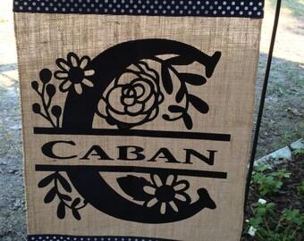 Monogram Garden Flag/Wedding Gift/Housewarming Gift/Burlap Garden Flag/Garden Flag