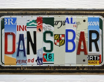 Custom Bar Sign - License Plate Art - Father's Day Gift - Mancave Art - Rustic Cabin Decor - Mancave Custom Bar - Gift for Him - Dad Gift