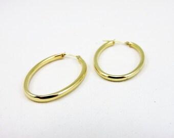 14k Gold Oval Hoop Hollow Earrings