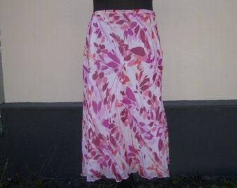 pink white Summerskirt - Skirt  Size L - Viscose Skirt - ligth Skirt - Midi Skirt - handmade Skirt