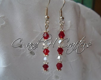 Red and Clear Swarovski earrings