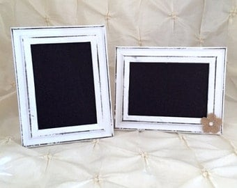 Chalkboard Frame White Distressed Wood Frame W or W/O Burlap Rose Table Number Birthday Party Shower Decor Picture Frame Chalkboard Sign
