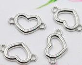 Silver heart connectors 10 connectors