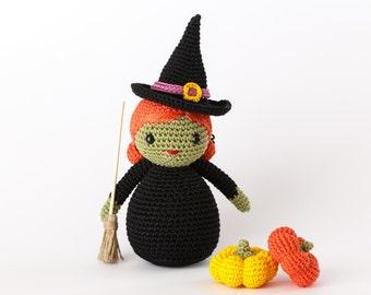 Halloween Witch Amigurumi Toy - Crochet Doll Halloween, Halloween Toy Plush, Witch Stuffed Toy, Halloween Decor