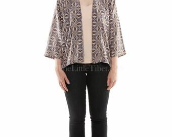 Timono (Tibetan + Kimono) jacket- Aztec diamond pattern , Free size (UK Free Shipping)