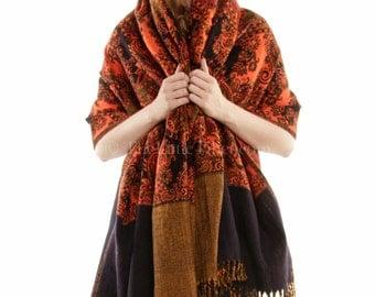 Brunt Orange , Hand loomed Tibet Shawls, cosy & versatile