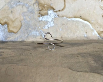 Silver Plated Simple Swirl Wire Wrap Ring