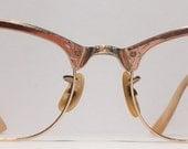 Vintage eyewear. Martin Copeland. Made in USA. Gold filled. Art Deco details. Artist. Writer. Women. Hipster. Unique