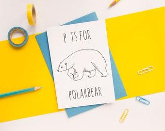 Polar Bear Card. Animal Alphabet Card. 100% Recycled Card & Envelope