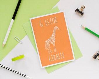 Giraffe Card / Giraffe Notecard / Animal Alphabet Card / Animal Alphabet / Notecard / Animal Card / Giraffe Birthday Card/ Safari Card