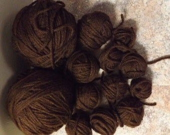 Dark Brown Yarn Destash - 9 oz of yarn -Le63