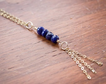 Opaque Blue Sapphire Bead Necklace (Gold Filled)