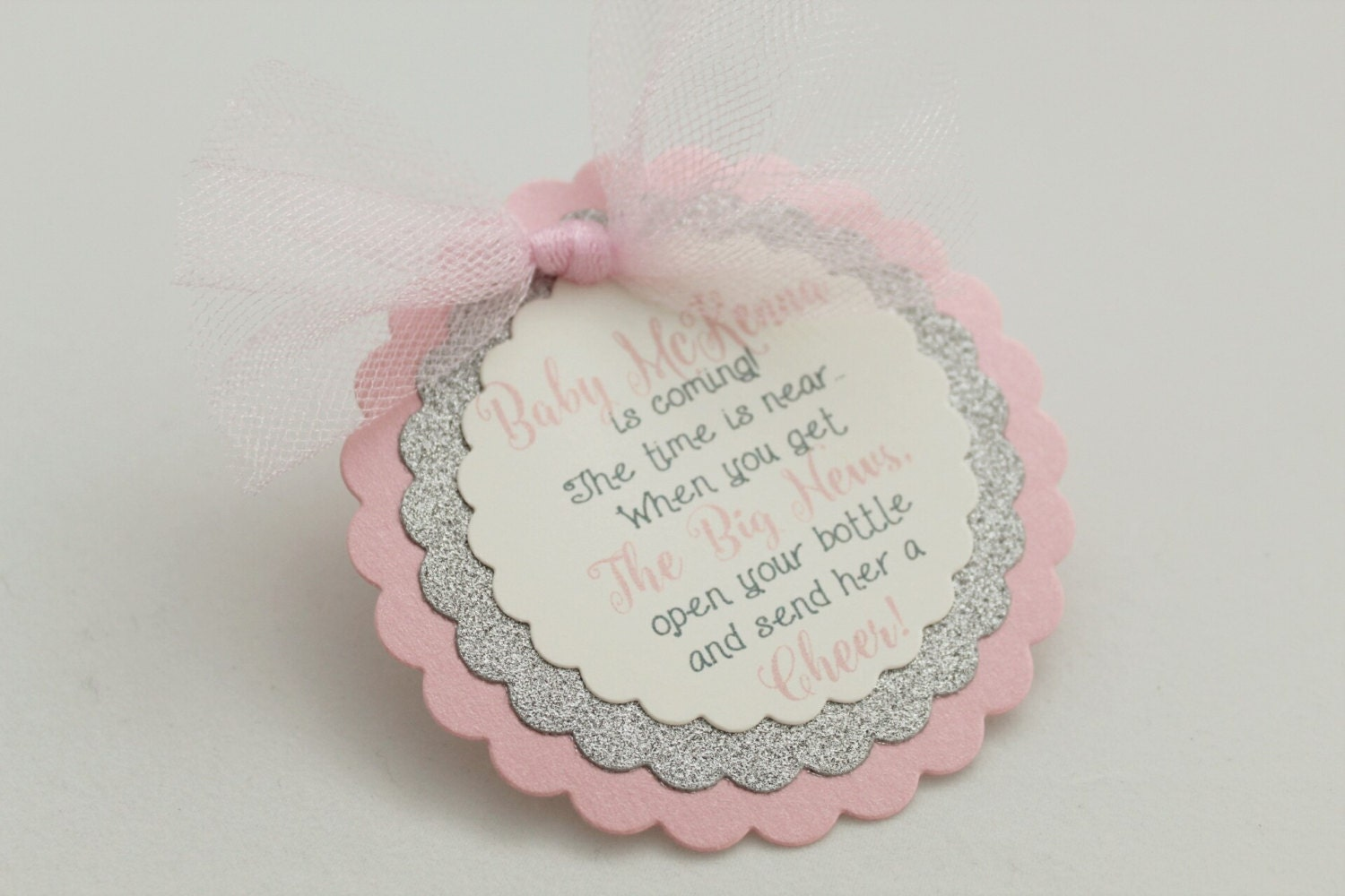 Wine bottle tags baby shower favor tags pink and silver baby for Shower favor tag
