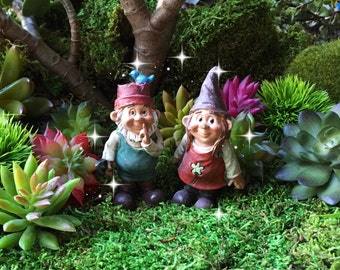 Fairy garden gnome couple, miniature garden gnome, miniature gnome girl, girl gnome, fairy gnome, cute gnome, miniature garden gnome