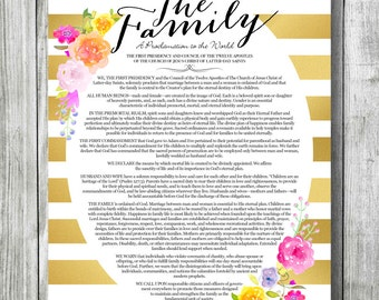 Family Proclamation, Gold Stripe Watercolor Flower Style, DIGITAL FILE Only, 8x10 & 11x14 Included, LDS Printable, Proclamation to the World