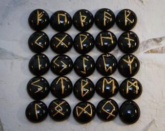 Elder Futhark Runes, 25 Piece Set, Black & Gold
