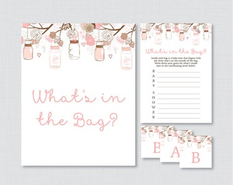 Mason Jar Baby Shower Bags Game Printable   Guess Whatu0027s In The Bag Game,  Pink