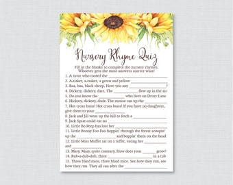 Sunflower Nursery Rhyme Quiz Baby Shower Game - Printable Instant Download - Rustic Yellow Sunflower Baby Shower Game - Fall, Summer 0051