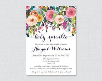 Baby Sprinkle Invitation Printable or Printed - Floral Baby Sprinkle Invites with Colorful Invitations - Elegant, Shabby Chic Invites 0025-B