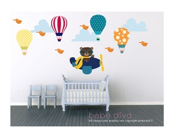 Wall Decals Nursery, Wall Decal Nursery, Balloon Wall Decal, Baby Wall Decal, Jungle Wall Decal, REMOVABLE & REUSABLE