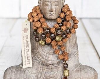 Rudraksha mala beads Smoky quartz 108 mala beads Healing crystals and stones mala necklace 108 beads Smokey quartz necklace Meditation beads