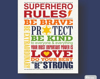 Superhero Rules Canvas Print - Kid's Canvas Subway Art - Wall Hanging