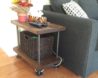 Rustic industrial pipe and wood side table || rustic wood end table || reclaimed wood table || rustic night stand|| steel and wood end table