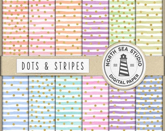WATERCOLOR PARTY, Digital Scrapbook Paper With Gold Confetti, Colorful Watercolor Stripes And Gold Confetti Patterns, Coupon Code: BUY5FOR8