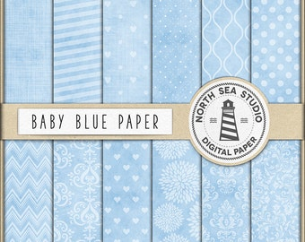 Baby Blue Scrapbooking Paper, Light Blue Digital Paper, Blue Printable Paper, Baby Blue Backgrounds, Coupon Code: BUY5FOR8