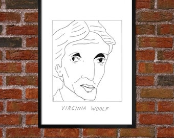 Badly Drawn Virginia Woolf - Literary Poster - *** BUY 4, GET A 5th FREE***