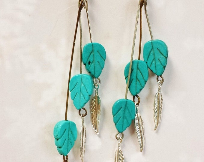Long Turquoise Dangle Earrings ~ Free Spirited Gift For Her ~ Long Boho Turquoise Tribal Earrings Great Rodeo or Earth Festival Jewelry