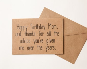 THANKS MOM CARD - Funny Birthday Card for Mom - to mom - Funny Mother's Day Card  - Birthday - Mother's Day - Thank You From Son or Daughter