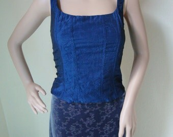 BLUE PRINCESS TOP -bustier, corset, party, elegant, chic, cocktail, gothic, prom, historical, mid century, victorian, tank-