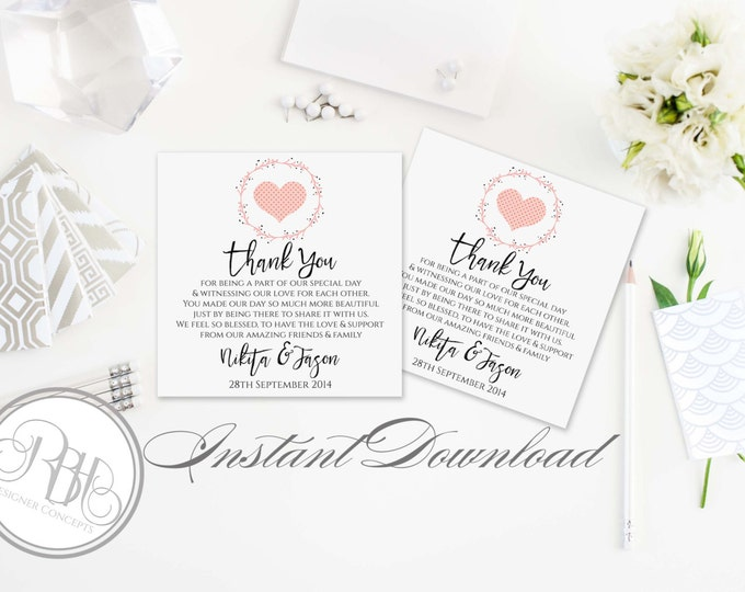 """Rustic Pink Wreath Wedding Thank You Card Template INSTANT DOWNLOAD-DIY Editable Text-Rustic Pink Wreath & Heart-""""Kymberley"""