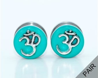 Om plugs / 00g, 7/16, 1/2, 9/16, 5/8 inch / spiritual jewelry gauges / teal plugs / om gauges / stainless steel screw on plugs