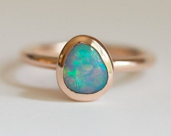 Rose Gold Opal Bezel Ring- Create Your Own Opal Bezel Ring- Rose Gold Opal Ring- Recycled Gold - Choose your opal - Mermaid ring by Anueva