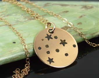14k Rose Gold Filled Aquarius Necklace, Aquarius Necklace, Rose Gold, Constellation, Aquarius Jewelry, Zodiac Pendant, Rose Gold Pendant