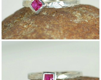 Square Ruby Ring, Ruby White Gold Ring, July's Birthstone Ring, Square Stone Mothers Ring, Square Stone Ring, Ruby Ring, White Gold Ring