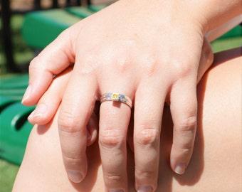 Square Topaz Ring, Topaz Solitaire, Topaz Silver Ring, November Birthstone Ring, Square Stone Mothers Ring, Silver Band, Square Stone Ring