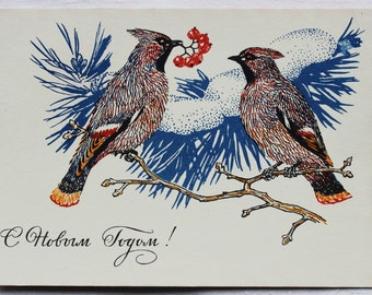 Happy New Year! Vintage Soviet Postcard. Illustrator Kolganov - 1969. USSR Ministry of Communications Publ. Birds, Waxwings, Branch, Snow
