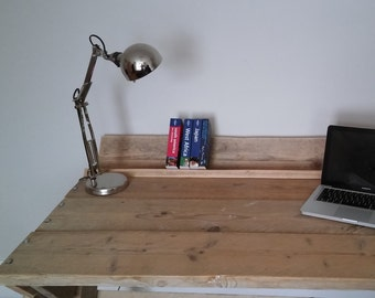 Custom handmade industrial-look desk in recycled scaffold wood