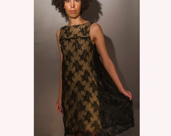 1960 Black Cotton Lace Sax Fifth Avenue Party Dress with a satin bow