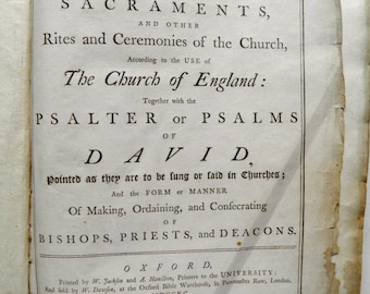 Book of Common Prayer Church of England Oxford University 1790