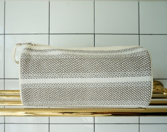 Beige Striped Knit make up bag / organizer / skin care storage / toiletry