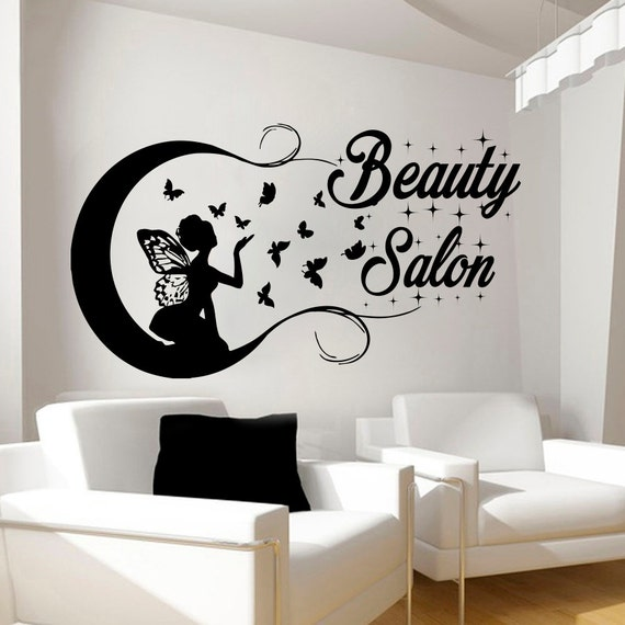 Beauty salon wall stickers decal hairdressing salon by for Stickers para pared de dormitorio