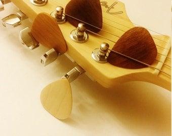 Set of 4 Hand made Wooden Guitar Picks, Maple pick, Cherry pick, Mahogany pick, Black Walnut pick, musicians gift