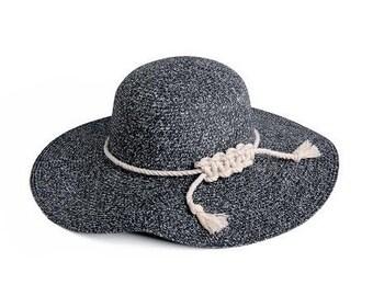 Nautical hat , Floppy Speckled Hat , Black & white Wide brim hat , Custom hats.